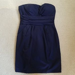 David's Bridal Strapless Short Navy Blue Dress